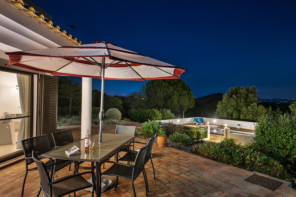 Villa Susana Terrace and Pool at Dusk